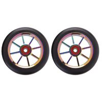 8 Spoke 100mm Wheels - Colour CP Core with Black PU (pair)