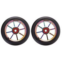 8 Spoke 110mm x 24mm/24mm Wheel - Colour CP Core/Black PU (Pair)