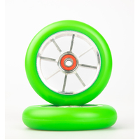 8 Spoke 110mm Wheel - Silver Core with Green PU (pair)