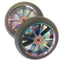 9 Spoke 120mm x 24mm/28mm Wheel-Colour CP Core/Black PU (Pair)