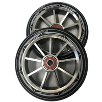 9 Spoke 120mm x 24mm/28mm Wheel-Silver Core/Black PU (Pair)